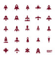 rockets icon set flat silhouettes of space ships vector image vector image