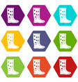 rubber boots icon set color hexahedron vector image vector image
