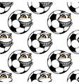 Seamless pattern of a happy soccer ball vector image