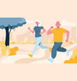 senior couple engaged in jogging in local park vector image vector image