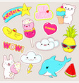 set cute summer stickers in kawaii style vector image vector image