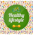 Set of flat design sport fitness and healthy vector image
