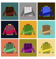 set of icons in flat design skiing sweater vector image vector image