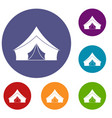 tent with a triangular roof icons set vector image vector image