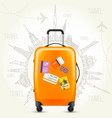 trip round the world - travel poster suitcase vector image vector image