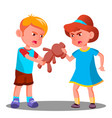 two children quarrel over a toy isolated vector image