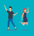young couple happy jumping vector image
