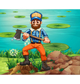 A lumberjack holding an axe at the riverbank vector image vector image