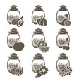 a set of 9 glass jars of weight tea with different vector image vector image