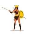 amazon girl with a spear cartoon vector image vector image