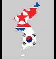 background of north and south korea map and flag vector image