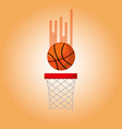 basketball hoop and ball blurred color background vector image