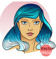 beautiful girl with blue hair vector image vector image