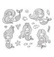 beautiful little mermaids vector image
