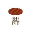 beef patty ingredient for burger flat cartoon