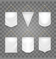 blank white pennant set vector image vector image
