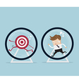 businessman running for target in hamster wheel vector image vector image
