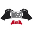 camera in hands icon vector image vector image