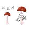 Cartoon brown boletus mushroom character vector image vector image