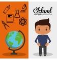 cartoon school pupil boy globe flyier vector image vector image