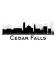 cedar falls iowa skyline black and white vector image vector image