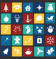 christmas icons set on color squares background vector image