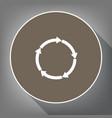 circular arrows sign white icon on brown vector image vector image