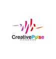 colorful pulse logo concepts pulse people logo vector image
