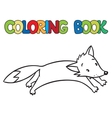 Coloring book of little funny jumping fox vector image vector image