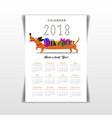 creative calendar 2018 with cute cartoon vector image