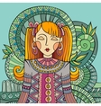 decorative cartoon young woman vector image