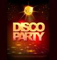 disco ball background disco party poster neon vector image vector image