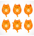 doodle red cats set vector image