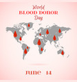 drops of red blood over world map vector image vector image