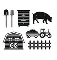 farm black silhouette set isolated on white vector image