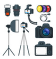 flat style set of photo equipment vector image