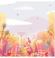 floral background with autumn leaves and berries vector image