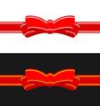Gift ribbon with red bow Horizontal ribbon vector image vector image