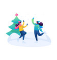 girlfriends have fun at rink flat 2d characters vector image