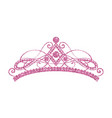 glittering diadem pink tiara isolated on white vector image vector image