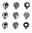 Globe earth icons with cursor hand and arro vector image vector image