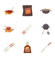 grilling icons set cartoon style vector image vector image