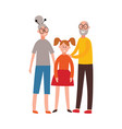 happy grandparents together hug young girl vector image