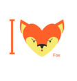 I love Fox Cute head foxes in shape of a heart vector image vector image