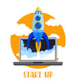 laptop with rocket quick vector image
