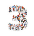 large group people in number 3 three form vector image vector image