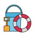 lifebuoy bucket and shovel beach vector image
