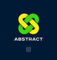 logo abstract green and yellow crossed vector image vector image