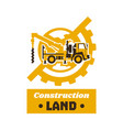 logo of construction equipment globe earth gear vector image