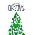 merry christmas eco card green watercolor tree vector image vector image